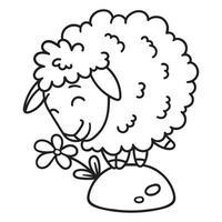 ovelha com uma flor. colorindo páginas. vetor