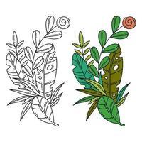ilustração separada do vetor de folhas e flores tropicais.