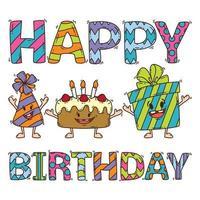 cartão de aniversário com bolo, presente e chapéu de festa. vetor