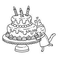 bolo de aniversário com vela e gato fofo. vetor