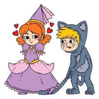 menino e menina em trajes de halloween, princesa e gato. vetor
