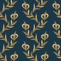 sem costura padrão floral dourado e azul. vetor