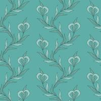 sem costura padrão floral em tons de azuis. vetor