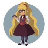 menina loira sombria em um terno retrô. mulher em terno steampunk. vetor