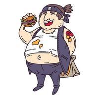 homem gordo com hambúrguer. vetor