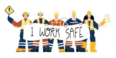 trabalhadores da indústria de construção com sinal de segurança eu trabalho vetor