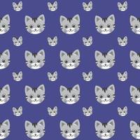 gatos bonitos vetor padrão, ilustrações em fundo colorido.