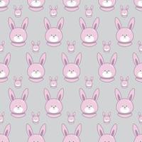 padrão sem emenda com coelhinho fofo dos desenhos animados. padrão de bebê. vetor