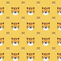 padrão sem emenda de vetor com tigres bonitos sobre o fundo amarelo.