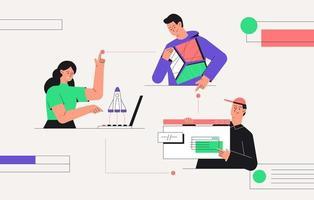 arranque de negócios, trabalho em equipa, conceito de negócio. criação de cadeia de negócios, foguetes voando de um laptop, homem segurando um quebra-cabeça abstrato nas mãos. ilustração em vetor estilo simples.