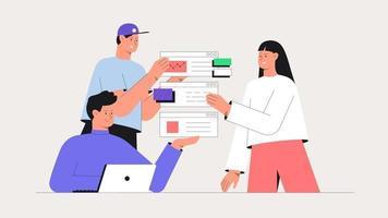 homens e mulheres participando de reunião de negócios, geram ideias e testam app. brainstorming de negócios, conceito de design ui ux de criação de um aplicativo. ilustração em vetor estilo simples.