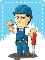 cartoon do técnico ou reparador da empresa mascote ilustração desenho vetor