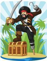 Capitão pirata com seu baú do tesouro desenho de ilustração em desenho animado vetor