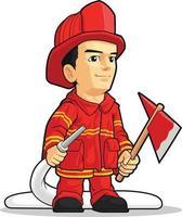 ilustração do mascote dos desenhos animados do bombeiro bombeiro comedor do fumo