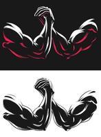 ilustração de ginástica de luta contra braço muscular de silhueta