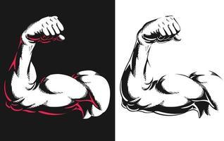 silhueta braço bíceps flexionando musculação fitness ilustração vetor