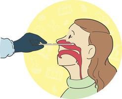 teste de cotonete nasal, seção transversal, vista lateral, anatomia, desenho, ilustração vetor