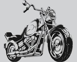 clipart de ilustração de silhueta de motociclista de motocicleta vintage vetor