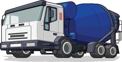 desenho animado da indústria de máquinas pesadas para construção de caminhão betoneira vetor