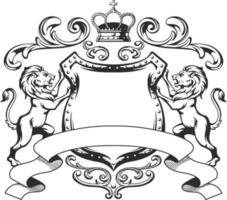 escudo heráldico do leão brasão da realeza silhueta negra vetor