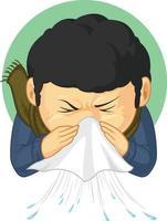 desenho de ilustração desenho animado menino doente contraído gripe, espirros, doença vetor