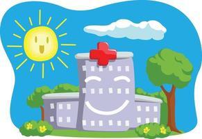 desenho de ilustração de desenho animado de construção de hospital
