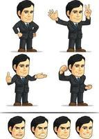 empresário empresa executivo ceo cartoon mascote personalizável vetor
