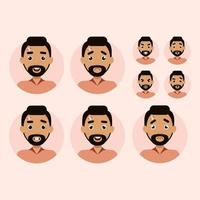 conjunto de emoções do homem. homem avatar ilustração vetorial estilo simples vetor