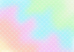 fundo gradiente de estilo holograma com padrão de escalas de sereia vetor