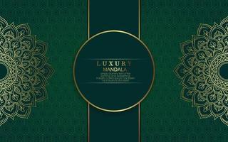 Fundo ornamentado de mandala de ouro de luxo para convite de casamento, capa de livro vetor