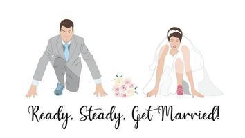 convite de casamento, cartão, saudação. noivo e noiva se preparando para o casamento. casal na linha de partida de um novo começo vetor