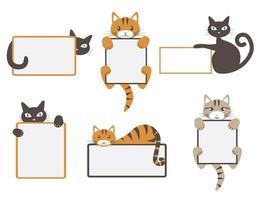 ilustração em vetor de mascote dos desenhos animados engraçados de gato gatinho fofo isolado fazendo apresentação de slides. perfeito para marketing e vendas, jardins de infância e apresentações escolares