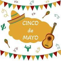ilustração vetorial com design para feriado mexicano, 5 de maio cinco de maio vetor