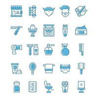 conjunto de ícones de barbearia com estilo azul. vetor