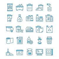 conjunto de ícones de resíduos com estilo azul. vetor