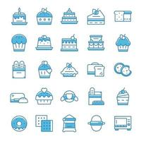 conjunto de ícones de padaria com estilo azul.