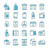 conjunto de ícones de lixo com estilo azul. vetor