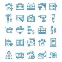 conjunto de ícones de casa e renovação com estilo azul. vetor