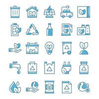 conjunto de ícones de ecologia com estilo azul. vetor