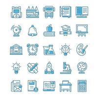 conjunto de ícones de volta às aulas com estilo azul. vetor