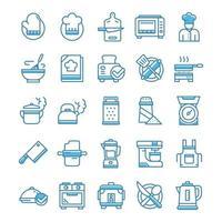 conjunto de ícones de culinária com estilo azul.