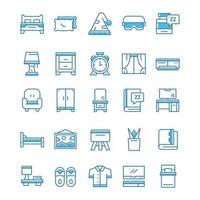 conjunto de ícones de quarto com estilo azul. vetor
