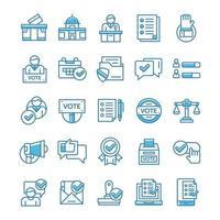 conjunto de ícones de votação e eleição com estilo azul.