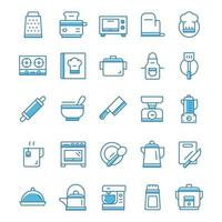 conjunto de ícones de cozinha com estilo azul.
