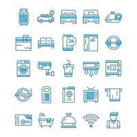conjunto de ícones do hotel com estilo azul.