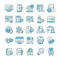 conjunto de ícones de marketing com estilo azul. vetor
