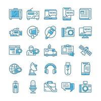 conjunto de ícones de mídia de massa com estilo azul.