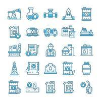 conjunto de ícones da indústria de petróleo com estilo azul.