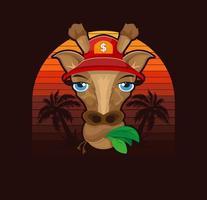 girafa em um boné em um fundo de palmeiras. impressão de verão para design de t-shirt. desenho de ilustração vetorial. vetor