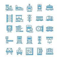conjunto de ícones ferroviários com estilo azul. vetor